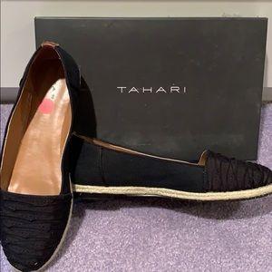 Tahari NWOT Black Flats with Hemp Bottom